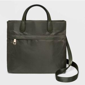 Mini square convertible backpack purse green